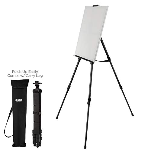Soho Urban Artist Aluminum Art Easel & Carry Bag for Plein Air Painting - Lightweight Anodized Aluminum Compact Painting Easel, Indoor Outdoor Use Holds Canvases up to 50