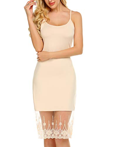 Zeagoo Women's Adjustable Spaghetti Strap Chiffon Ruffle Camisole Dress Extender Skincolor S