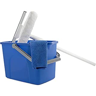 Unger Window Washing Starter Kit with 2-in-1 Microfiber Combi, Collapsible Pole, Microfiber Cloth, and Bucket