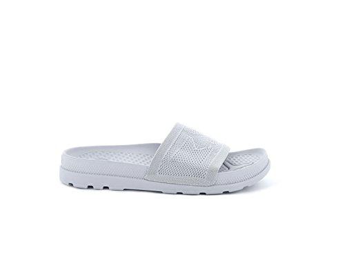 Palladium Pampa Solea Slide Knit, Sandales Bout Ouvert Femme gris/blanc