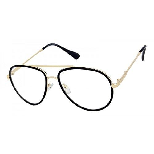 Classic Metal & Plastic Aviator Eyeglasses Frame / Clear Lens Sunglasses (Black & Gold Frame, - Metallic Frames Glasses