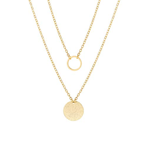 Aobei Pearl Circle Disk Necklace 18K Gold Chain Choker Layered Karma Full Moon Dainty Minimalist Jewelry for ()