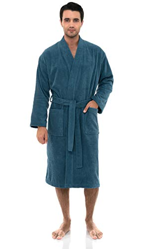 (TowelSelections Men's Robe, Turkish Cotton Terry Kimono Bathrobe Small/Medium Bluesteel)