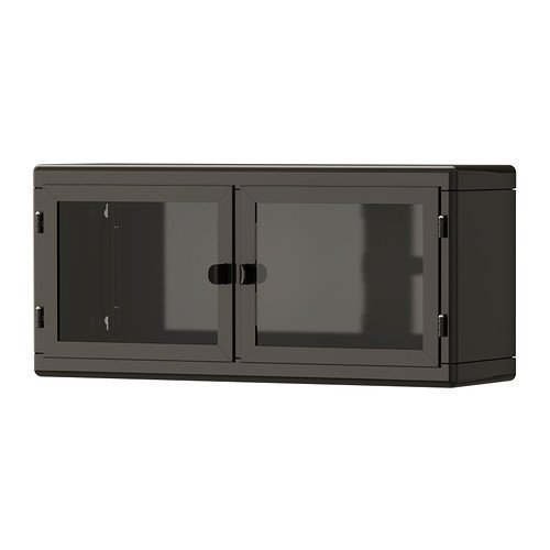 1 IKEA Wall cabinet, dark gray, glass by Ikea