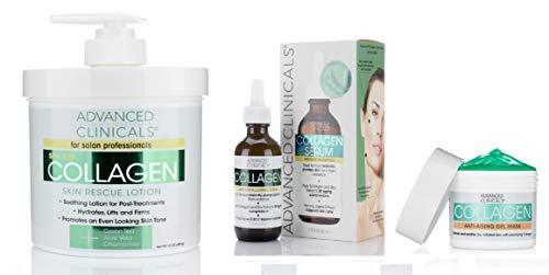 Advanced Clinicals Collagen Skin Care Set. 16oz Collagen Cre