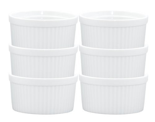 Individual Dish Souffle (HIC Souffles, Porcelain, 4.5-Inch, 14-Ounce Capacity, Set of 6)