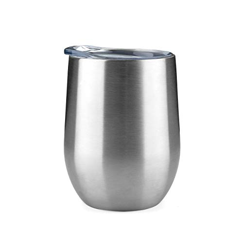 (ONEB Stainless Steel Wine Tumbler with Lid, 12 OZ | Double Wall Vacuum Insulated Travel Tumbler Cup for Coffee, Wine, Cocktails, Ice Cream Thermos Cup With Lid (12OZ Silver))