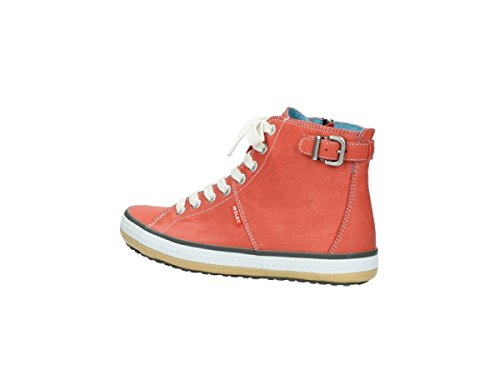 Wolky Womens 1225 Biker Leather Trainers 253 coral red leather