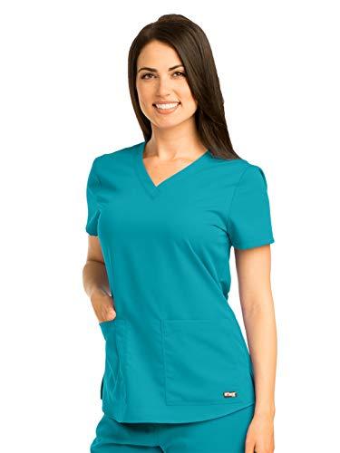 Grey's Anatomy 71166 V-Neck Top Teal S