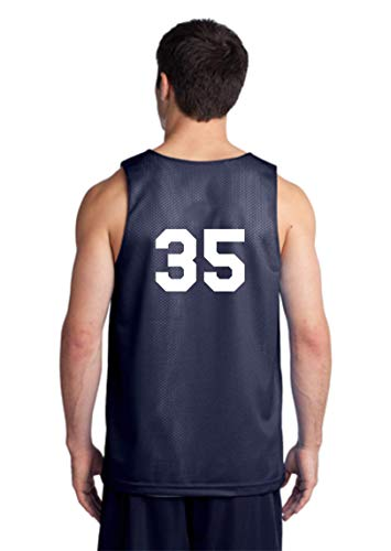 Players Inc Adult Basketball Custom Numbered Navy-White Reversible Mesh Uniform Top (Adult XXL)