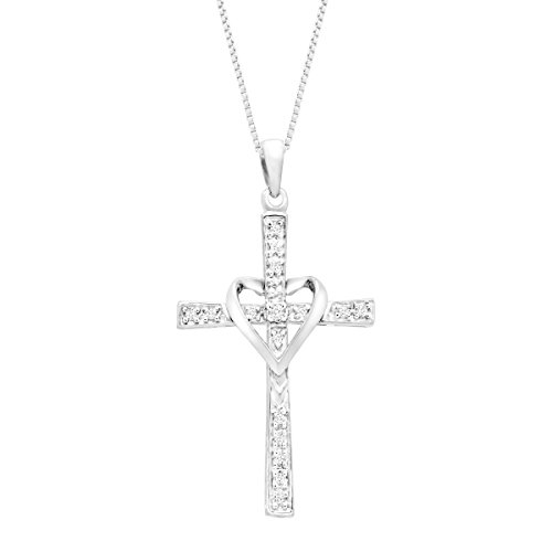 1/10 ct Diamond Cross Pendant Necklace with Heart in 14K White Gold