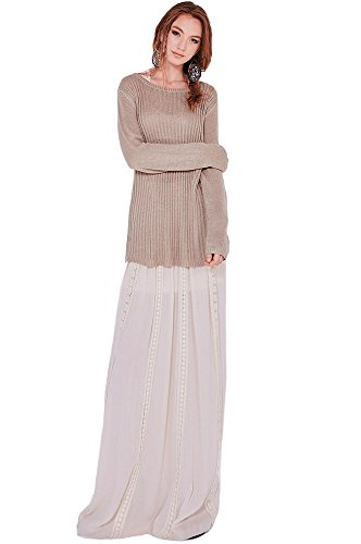 Womens Fashion Trendy Solid Color Lace Maxi Floral Trim Skirt CRM (Crm Trim)