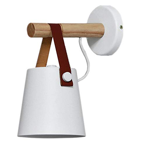 FAZH Nordic Denmark Minimalist Leather Suspension Wood Black/White Iron Wall Lamp Modern Bedside Bedroom Study Living Room Office Fixture E27 Wall Light (Color : White)