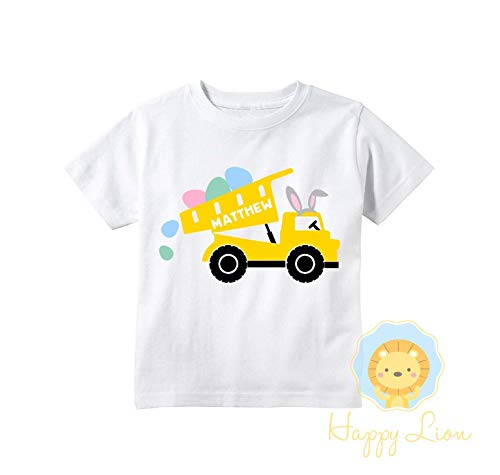 Happy Lion Clothing - Easter shirts for boys, Custom Personalized Easter Shirts, Cute Dump Truck Crane Easter Kids T-shirts