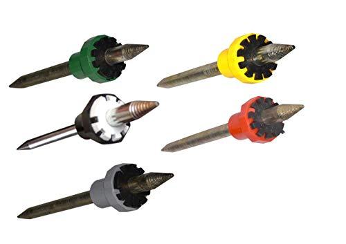 Set of 5 Metal Dop Sticks (6,8,10,12 & 14 Facets) For Faceting Rough Gems