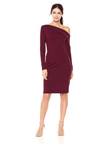 Susana Monaco Women's Leila One Shoulded Long Sleeve Dress, Port, S
