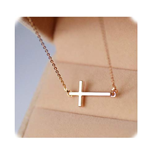 Sideways Cross Necklace 18k Gold Plated Stainless Steel Simple Small Cross Pendant From Ghome Offer Silver or Gold Color 18 Inches for Women Girls with Gift Box