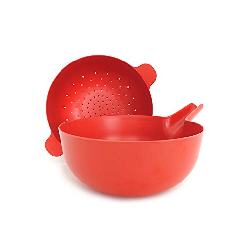 (EKOBO Bamboo Large Multi-purpose Bowl & Colander Set, BIOBU Eco-material, Tomato (Red))