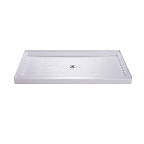 (DreamLine SlimLine 32 in. D x 54 in. W x 2 3/4 in. H Center Drain Single Threshold Shower Base in White)