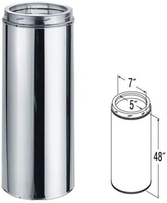 Flue DN 200 L 0.5 MT L 500mm Stainless Steel Tube 316
