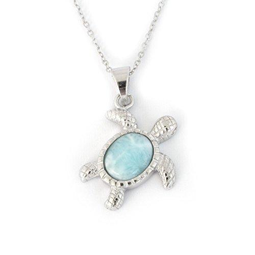 Solid Sterling Silver Blue Natural Larimar Cute Turtle Pendant Necklace - pendant only - Natural Blue Larimar Pendant