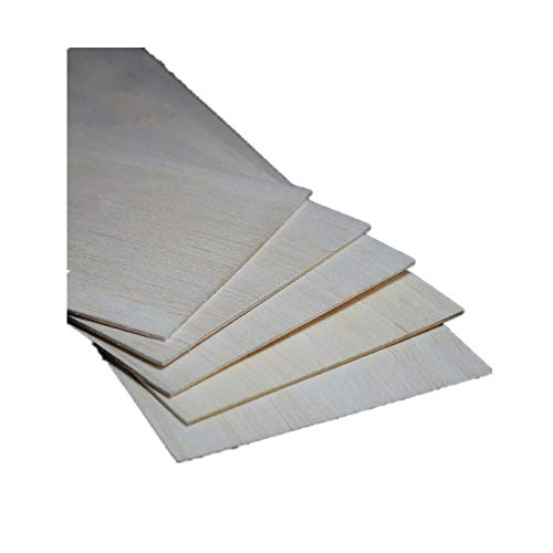 Balsa Wood Sheets 12'' x 4'' x 1/16'' 300mm x 100mm x 1.5mm for DIY Scale Model Airplane Wood Crafts 10 Piece (1.5mm)
