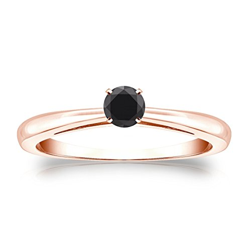 Jewelryhub 14k Rose Gold Finish 4-Prong Simulated Black Diamond Solitaire Ring 0.25 ct. tw Alloy (Prong 4 Bezel)