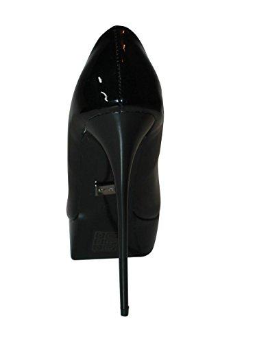 EROGANCE - Zapatos de tacón alto, estilo peep toe, forro de cuero, tallas UE 37 - 46 / A6436 negro