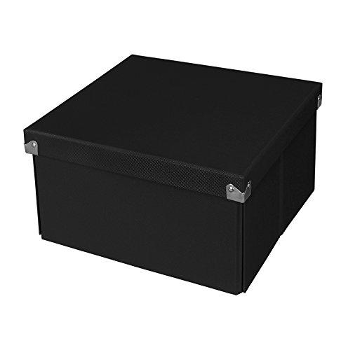 Samsill PNS02LSBK Pop n' Store Decorative Storage Box With Lid - Collapsible and Stackable - Medium Square Box - Black - Interior Size (9.75