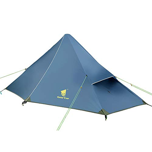 (Geertop 1 Person 3 Season 20D Ultralight Backpacking Tent for Camping Hiking Climbing (Trekking Poles NOT Included)(Inner Tent is Green))