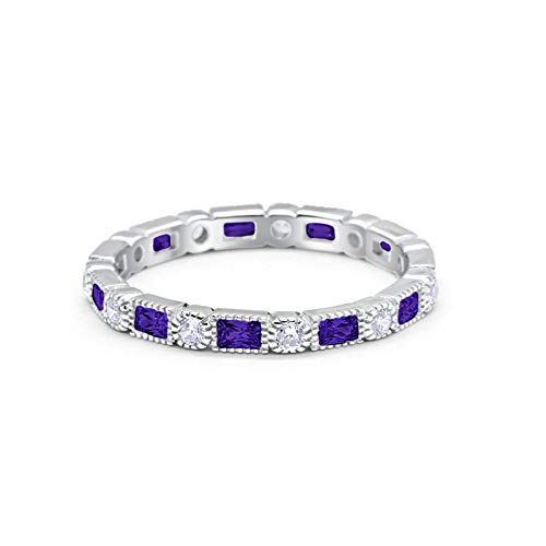 Blue Apple Co. 3mm Art Deco Full Eternity Wedding Band Baguette Round Simulated Amethyst CZ Cubic Zirconia 925 Sterling Silver Size-7