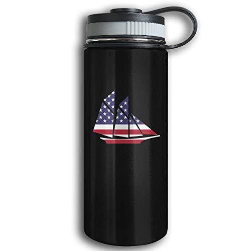 Kkidj Ooii American Flag Ship 17oz Stainless Steel Vacuum Insulated Water Bottles with Leak-Proof Cap