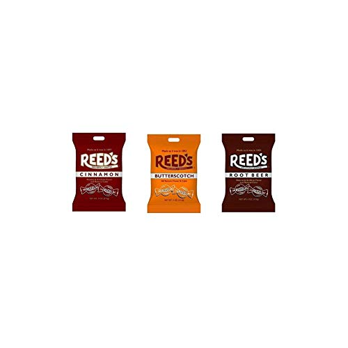 Reed's Classic Hard Candy Bags, Individually Wrapped, Variety Pack of 1x Root Beer, 1x Cinnamon, 1x Butterscotch, 4oz Each bag, (Pack of 3)