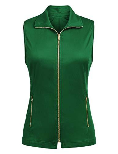 Dealwell Womens Lightweight Sleeveless Military Anorak Vest Plus Size (Onion Green Pale Green -