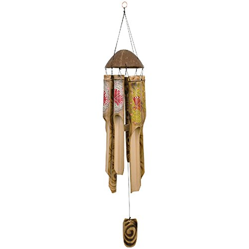 Tropical Bamboo Wood Wind Chime Outdoor Garden Windchimes 34 Inch Made in Bali