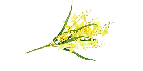 (Smart Sense Set of 4 Artificial Yellow 21 inch Dancing Lady Orchid Liquid Illusion Silk Flower Arrangement In Single Stem(4 pc, Yellow))