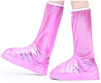 XHYRB 靴カバー、メンズとウィメンズ防雨ノンスリップ高い靴カバー、ブルー 防水靴、防雨カバー、長靴 (Color : Pink, Size : XL)