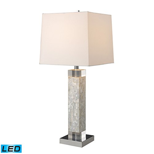 Manhattan Collection Luzerne LED Table Lamp In Mother Of Pearl With Milano Off White Shade