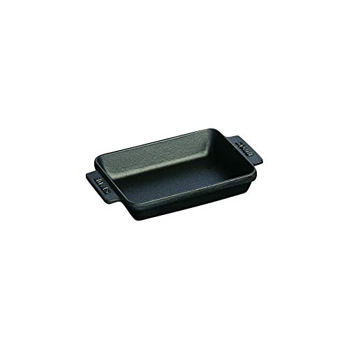 staub 스타우브 미니 레쿠 접시 블랙 15 × 11cm 법랑 철 베이킹 접시 【일본 정규 판매 상품] Dish 40509-548