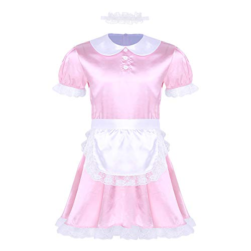 inlzdz Men's Frilly Satin Flutter Sissy French Maid Dress Costume Crossdress Nightwear Pajamas Pink&Type B Large -