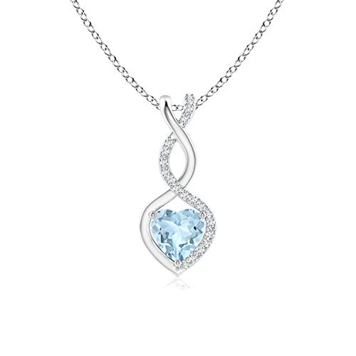 - Aquamarine Infinity Heart Pendant with Diamonds in 14K White Gold (5mm Aquamarine)