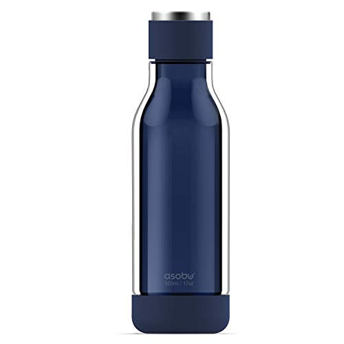 Asobu Inner Peace Glass and Tritan Encased Travel Water Bottle with Silicone Bumpers 17 Ounce (Blue)
