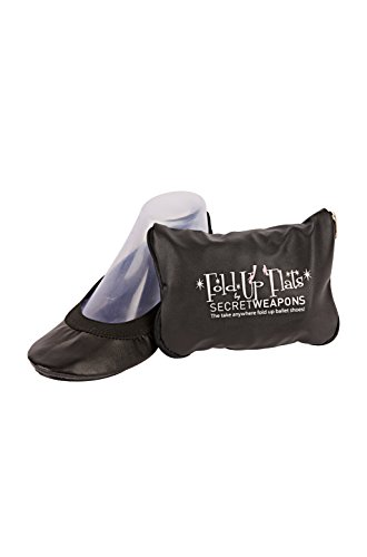 SECRET WEAPONS Fold Up Ballet Flats-Foldable Shoes-Portable Travel Shoes with Purse & Tote Carry Bag.in Black+Silver+Champagne+Leopard!(Large (Size 9-10), Black)