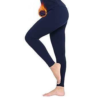 MANCYFIT Thermal Pants for Women Fleece Lined Leggings Underwear Soft Bottoms Navy X-Small