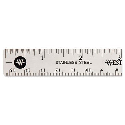 Westcott 10414 Stainless Steel 6 Office Ruler with Non-Slip Cork Base Acme United