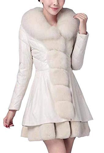 Largos Parkas Termica Fashion Manga Espesar Slim Larga Cuero Talla Vintage Invierno Con Blanco Piel Mujer Fit De Grande Cuello Chaqueta ppawqEC