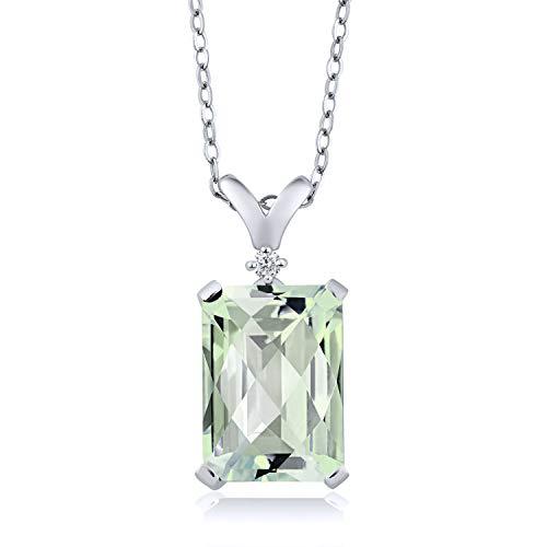 Gem Stone King 6.62 Ct Octagon Checkerboard Green Prasiolite White Diamond 925 Silver Pendant - Octagon Diamond Pendant