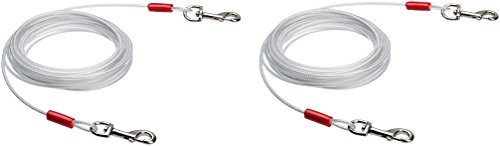 - AmazonBasics Tie-Out Cable for Dogs up to 90lbs, 25 Feet, Set of 2