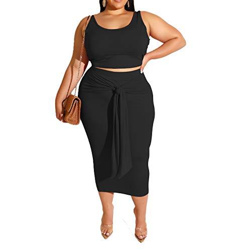 Womens Sexy Plus Size 2 Piece Midi Dress Outfits - Sleeveless Tie Dye Print Tank Crop Top Bodycon Skirts Set Black Solid 5XL ()