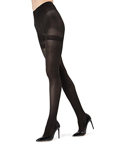 MeMoi Perfectly Opaque Longline Shaper Tights - 40 Denier MO-335 Black Medium/Large Longline Shaper